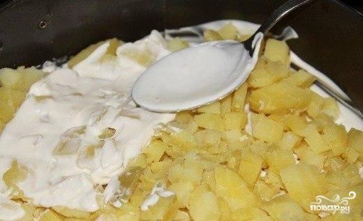 Следом укладываем картофель, порезанный кубиками. Снова слой майонеза.