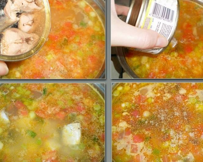 Добавьте сайру в суп, я добавляю целыми кусочками, по желанию можете покрошить. Под крышкой варим еще 4-5 минут. Соль и перец по вкусу.