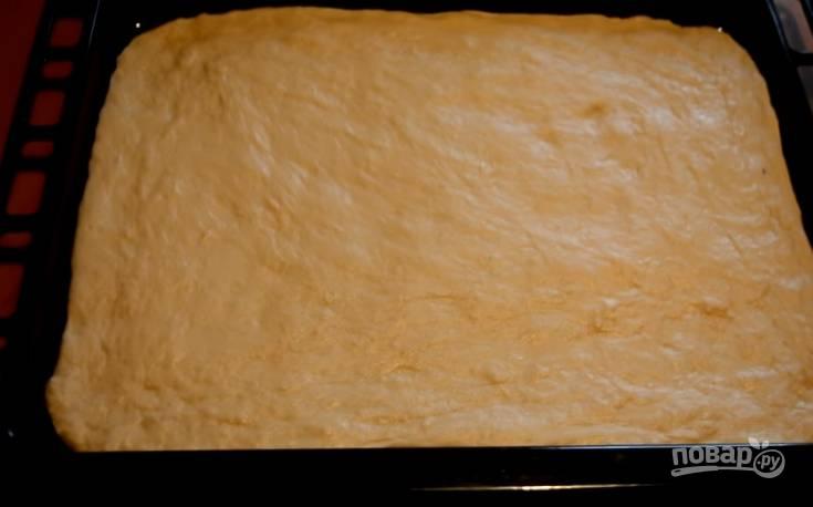 4. Противень смажьте растительным маслом, выложите в него тесто и распределите его, растягивая немного руками.