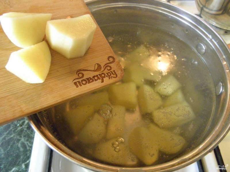 В кипящую воду или в бульон положите картофель, варите минут 10-15. Посолите.