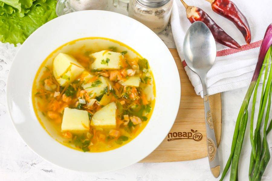 Разлейте ароматный суп в глубокие тарелки и подайте к столу с хлебными изделиями, сухариками, сметаной.