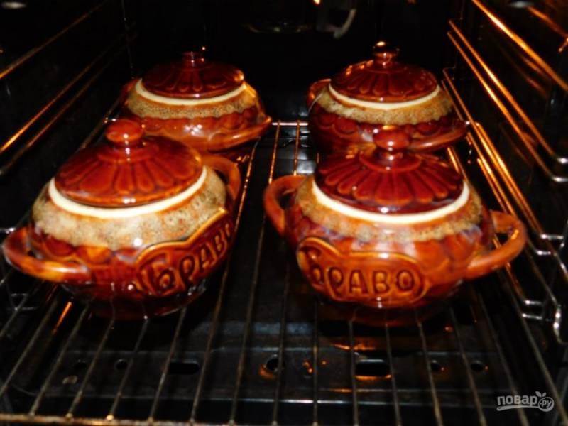 Закройте крышками и поставьте в холодную духовку. Включите на 200С и готовьте 1 час.