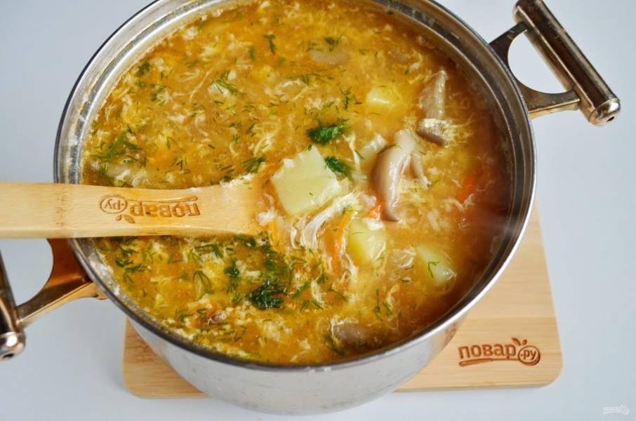 11. Грибной суп с рисом и яйцом готов!