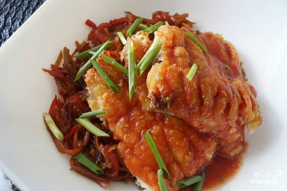 Карп по-китайски с овощами