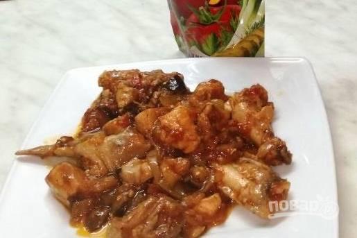 Лучший рецепт курочки с овощами в сладкой заливке и кетчупом