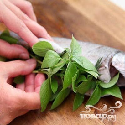 3.Промываем ветки базилика, и раскладываем на предварительно расстеленное полотенце (для того, чтобы удалить лишнюю влагу с зелени). Затем зелень укладываем в брюшко каждой форели. Растительным маслом смазываем жаропрочную форму и укладываем туда форели. Между тушками рыбы оставляем расстояние примерно  два сантиметра.