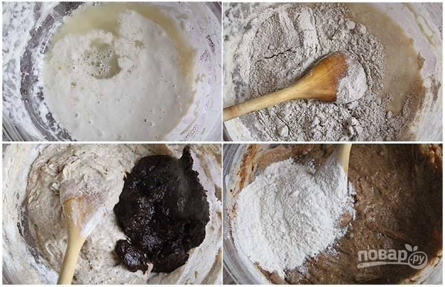 2. Когда опара хорошо подошла и увеличилась в объеме в два раза, добавьте сахар, соль, половину муки, оставшееся молоко или воду. Влейте растительное масло и выложите солод. Добавьте оставшуюся муку и по вкусу — измельченный кориандр.
