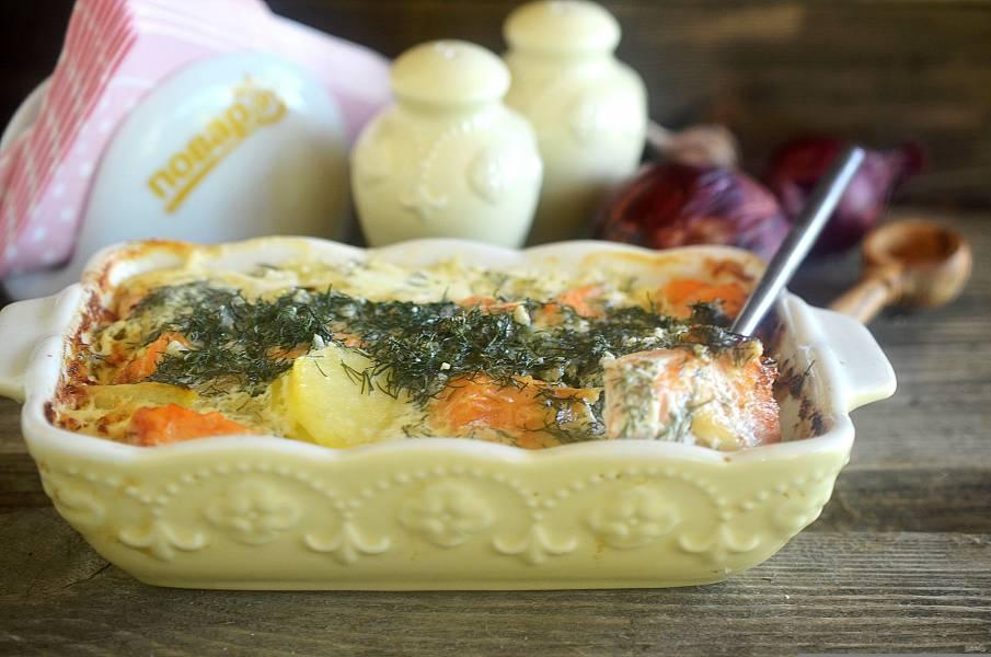Шведская запеканка с лососем