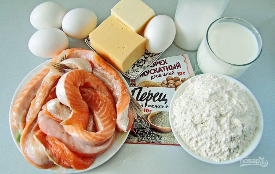 Подготовьте все необходимые ингредиенты. Рыба для этого рецепта подойдет любая красная, можно взять готовое филе, у меня – брюшки семги.