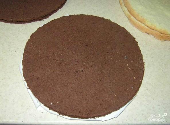 Готовим бисквит в разных формах, смазанных маслом, как обычно. Ставим в разогретую духовку при 180-190 градусах на 25-30 минут. Затем остужаем. Бисквит должен не просто остыть, но еще и отдохнуть. Его нельзя трогать часов 8. Каждый корж разрезаем на 2 части поперек, всего будет 4 коржа.