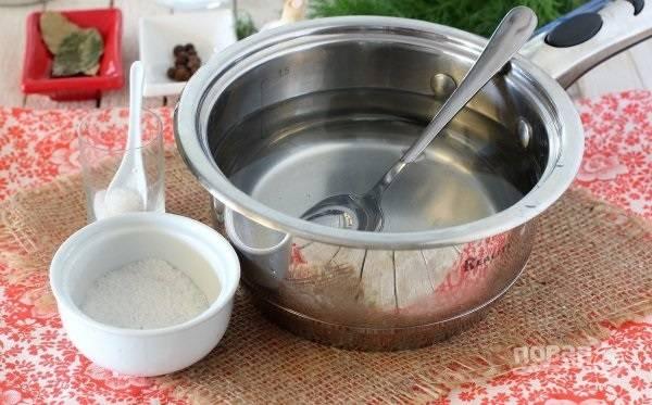 2. Для приготовления рассола соедините соль, сахар и воду. Поставьте на огонь и доведите до кипения. Снимите с огня и остудите немного.