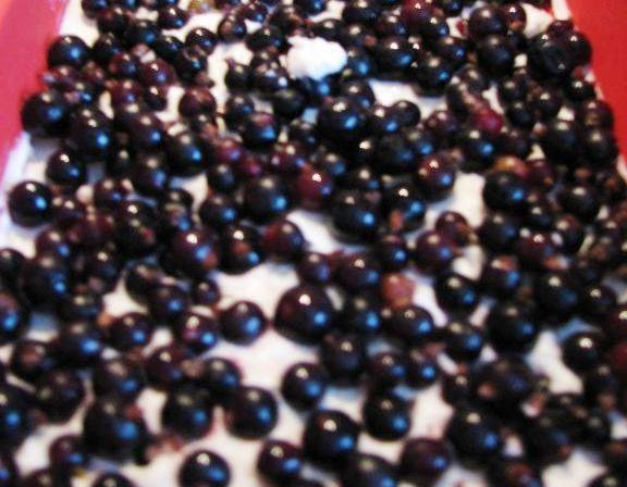 Половину творожной массы выложите в форму, на неё ягоды.