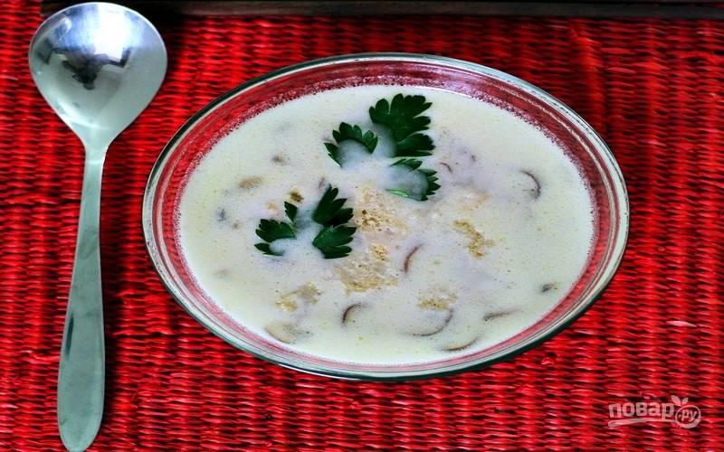Подайте суп с кокосовым молоком горячим, посыпав нарезанной зеленью петрушки. К супу подайте гренки.