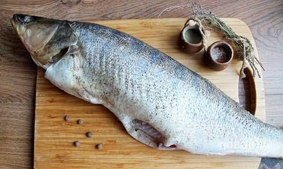 Из судака удалите внутренности, срежьте плавники и жабры. Тушку промойте. Смажьте её солью и перцем внутри и снаружи.