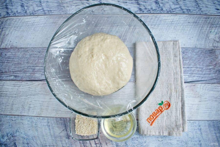 Тесто поместите в миску, смазанную маслом, накройте пищевой пленкой и поставьте в теплое место для подхода на 1 час.