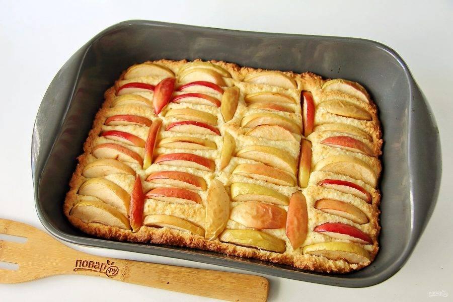 9. Яблочно-кокосовый пирог готов. Дайте ему немного остыть, затем посыпьте по желанию сахарной пудрой и подавайте к столу.