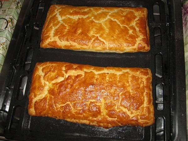 7. Появление румяной корочки сигнализирует о том, что пироги можно достать из духовки. Немного остудить и подавать к столу, разрезав на порционные кусочки.