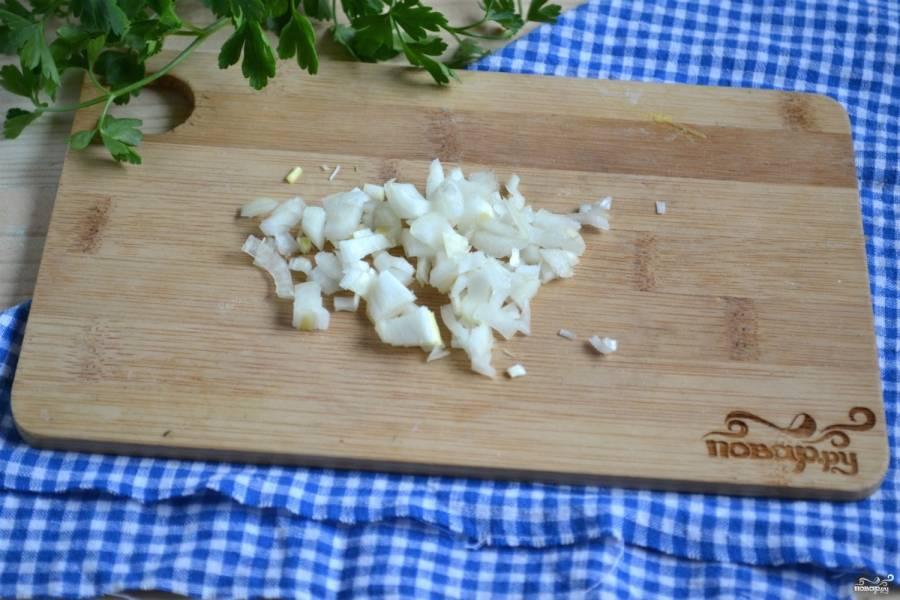 Лук порежьте мелкими кусочками и спассируйте в небольшом количестве растительного масла.