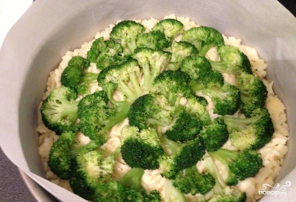 Сверху уложите брокколи, немного вдавливая его в пюре. Далее смажьте всё сметаной.