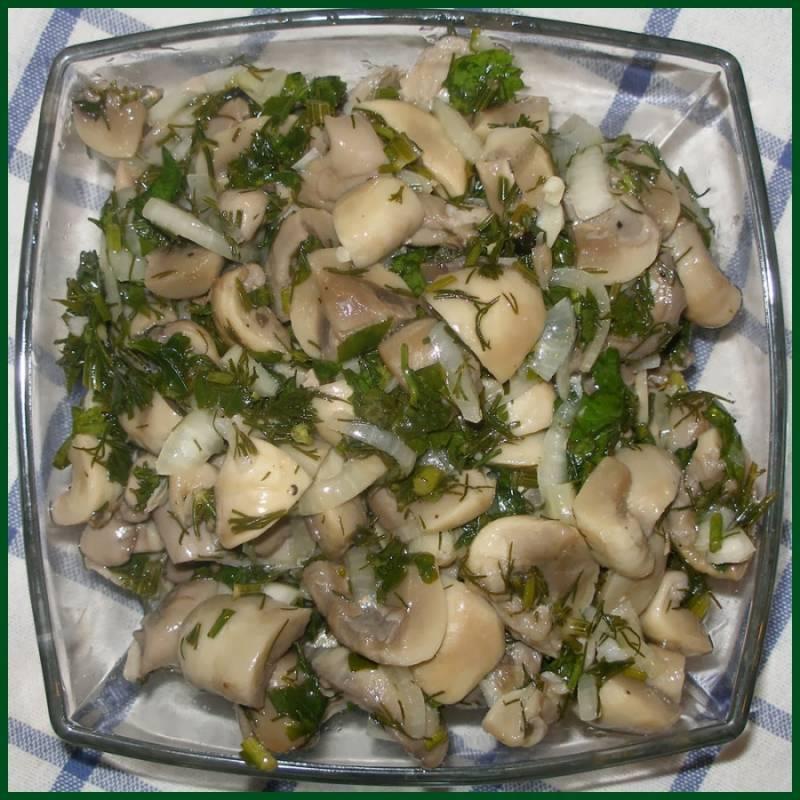 Храните в прохладном месте и через три недели грибы будут готовы. При подаче на стол полейте оливковым маслом и присыпьте зеленью. Приятного аппетита!