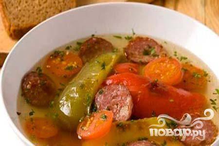 Суп из перца с колбасой