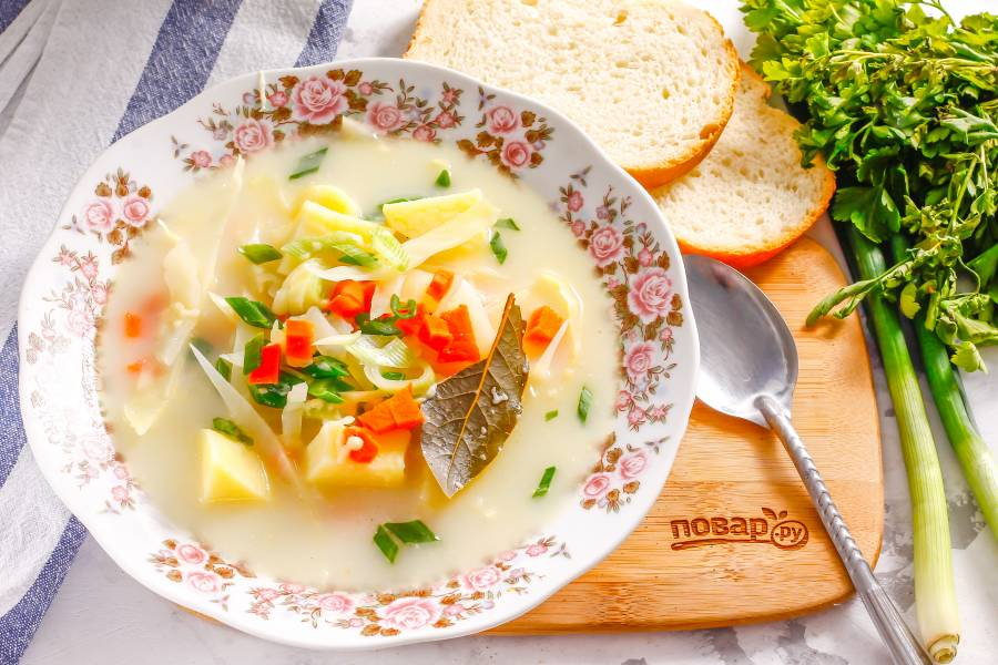 Сырный суп с капустой