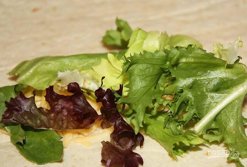 2.Листья салата мою и обсушиваю, затем раскладываю на лаваше поверх сыра.