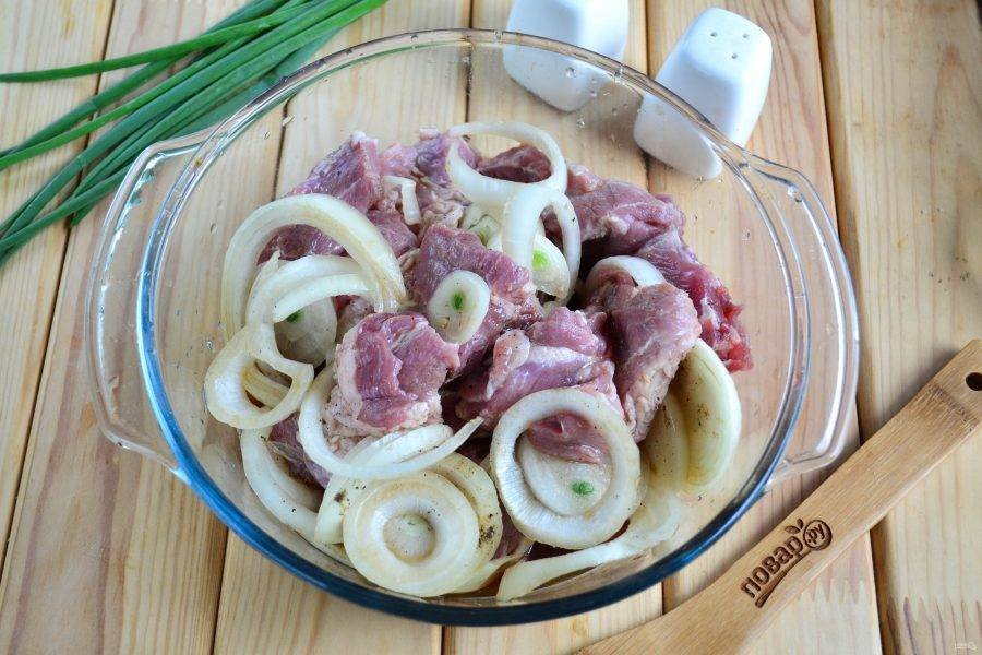 Хорошенько перемните руками, чтобы лук пустил сок, а каждый кусочек мяса был покрыт маринадом.
