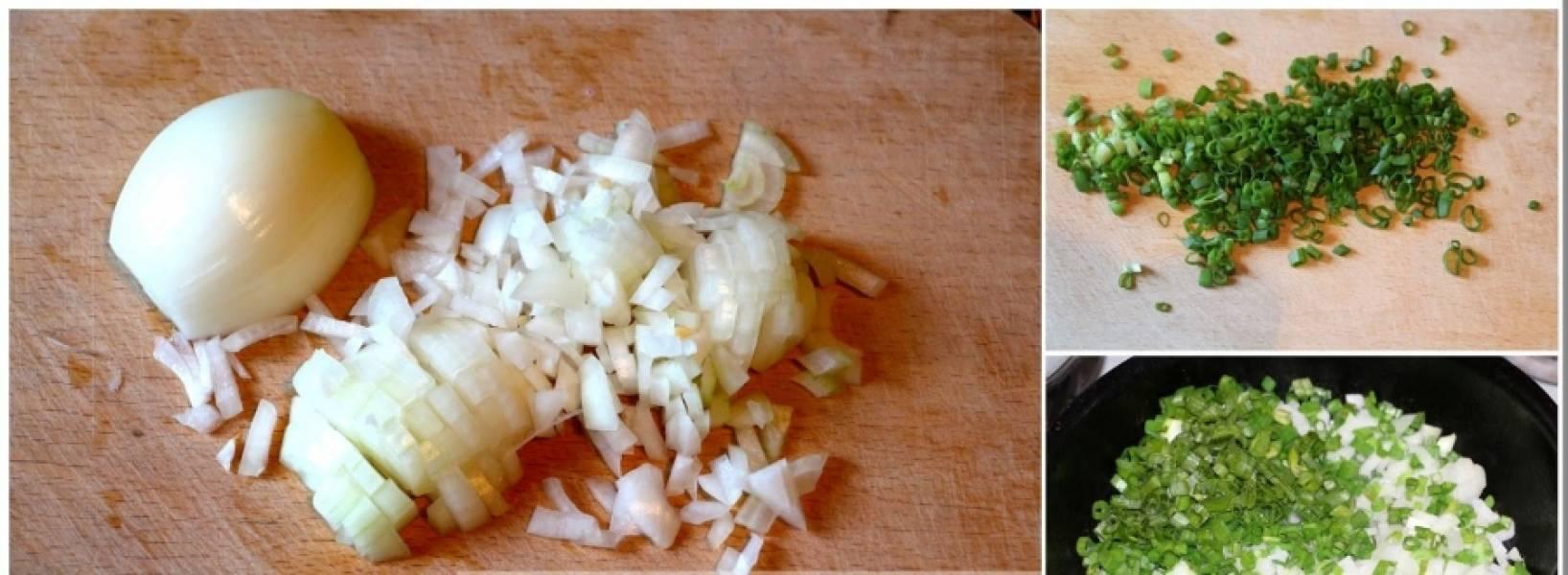 Мелко нарежьте репчатый лук. Зеленый лук хорошо промойте и тоже мелко нарежьте. Обжарьте весь лук на растительном масле до золотистого цвета.