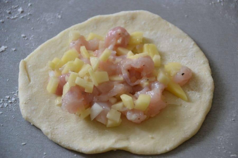 Разделите тесто на ровные комочки, получается примерно 20 штук по 47 граммов. Раскатайте тесто в лепешку, в центр лепешки выложите начинку.