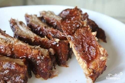 7. Свиные ребрышки готовы, подаем к столу! Приятного аппетита!