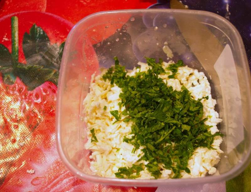 2. Теперь творог растираем с измельченной зеленью и специями. Тесто делим на две части и раскатываем два тонких пласта.
