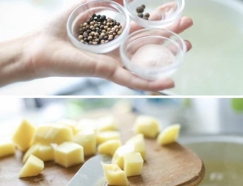 Поставьте кастрюлю с водой на огонь, в воду добавьте соль, перец горошком, а также мелко порезанный имбирь.  Порежьте картошку кубиками и добавьте к кипящему имбирю.
