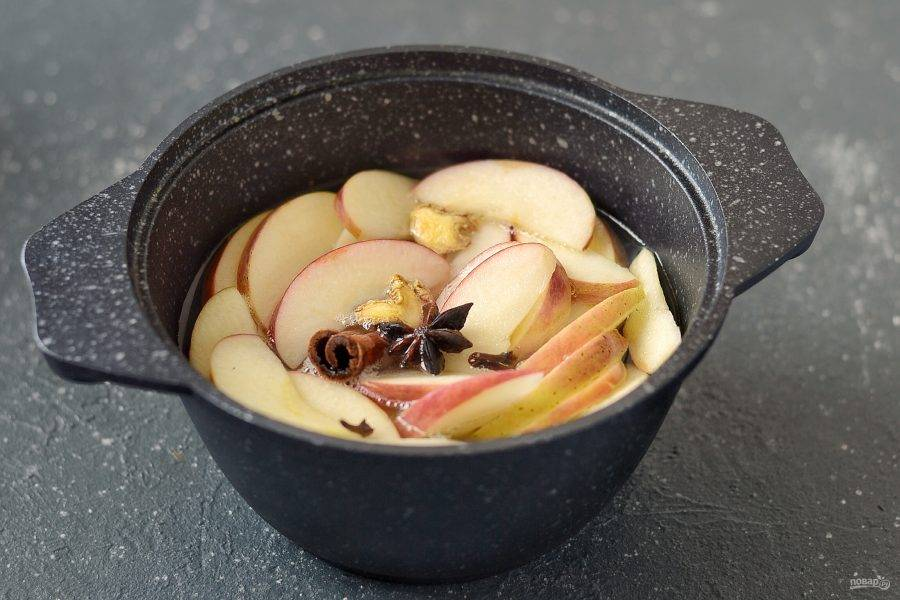 Вскипятите 300 мл. воды с сахаром. Добавьте половину ломтиков яблок, палочку корицы, гвоздику, бадьян и сушеный имбирь. Проварите на среднем огне 15-20 минут.