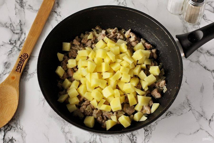 Добавьте нарезанный примерно такими же кубиками картофель.
