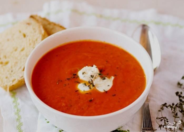 Томатный крем-суп с моцареллой