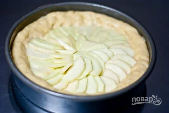 3.Смажьте круглую форму маслом и разотрите с помощью кисточки. Выложите тесто в форму, сформируйте бортики. Помойте и почистите от кожуры яблоки, нарежьте их тонкими дольками, затем смешайте с лимонным соком, медом и выложите в форму.