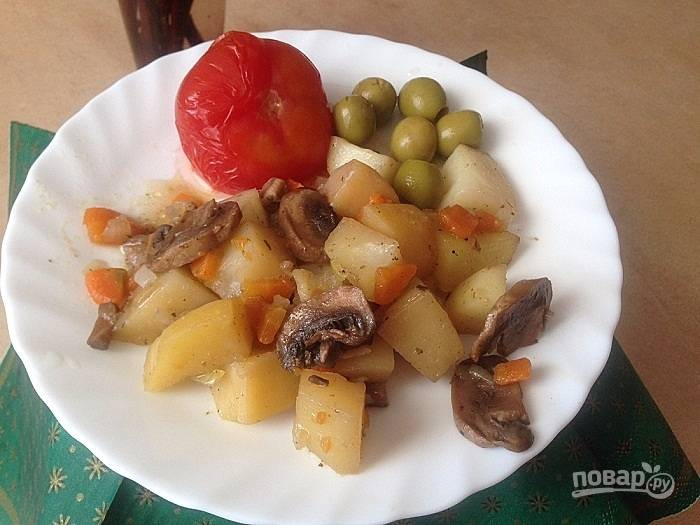 Картофель с грибами в рукаве