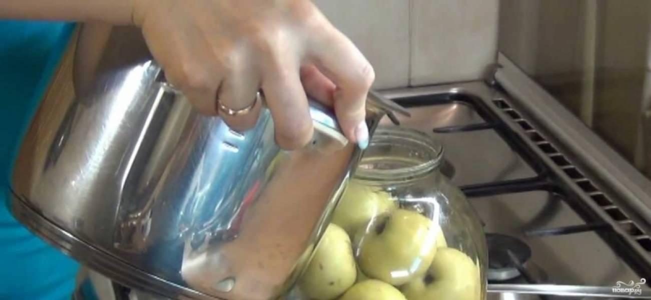 2. Дальше - помытые и обсушенные яблоки. Отдельно в указанном количестве воды разбавим соль и сахар, перемешаем так, чтобы все растворилось. и заливаем затем в банку.