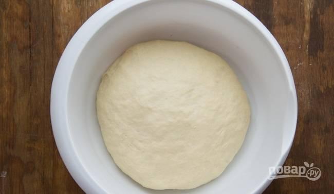 5.Достаньте тесто из миски, смажьте ее растительным маслом, затем положите в нее тесто и оставьте его при комнатной температуре на 1 час, накройте его полотенцем.