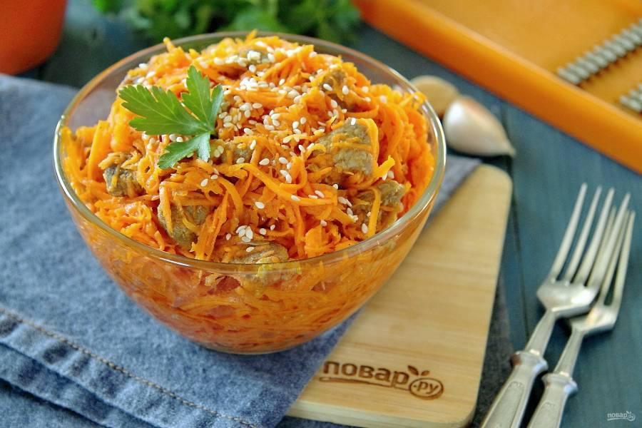 Корейская морковь с мясом