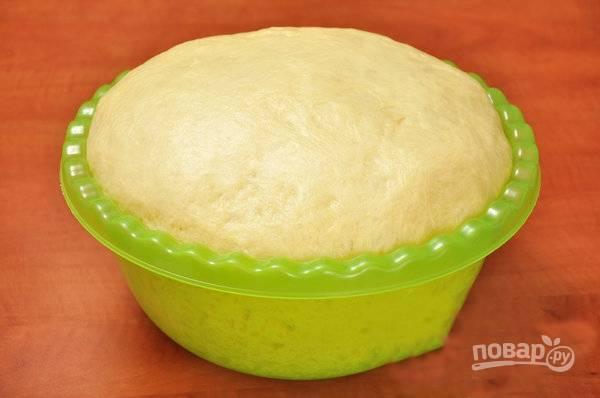 Тесто положите в посуду, накройте полотенцем, поставьте в теплое место на 2 часа. Оно должно увеличиться в объеме 2-3 раза. Когда тесто поднимется, начинайте лепить пирожки.