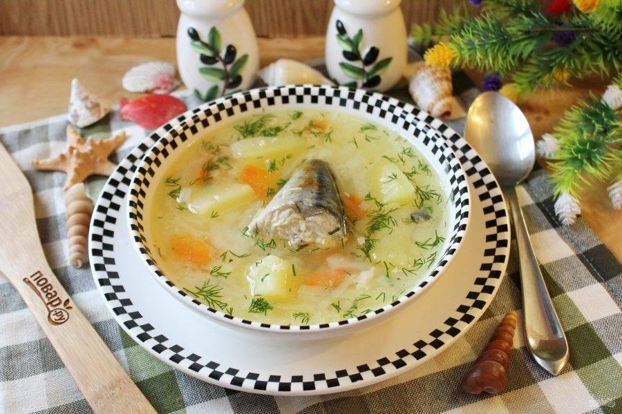 Рыбный суп с капустой готов. Подавайте на первое в обед.