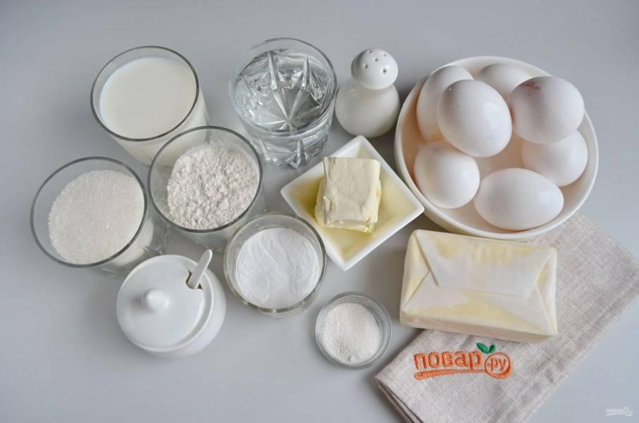 Подготовьте продукты для коржей и крема, все будем делать одновременно.