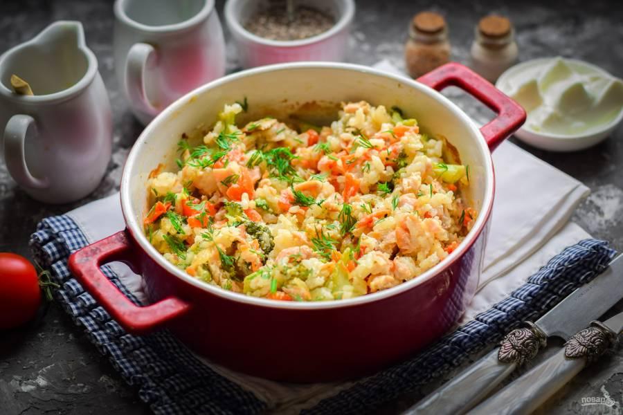 Семга с рисом в духовке