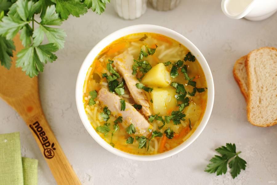Суп из кролика с картошкой и вермишелью