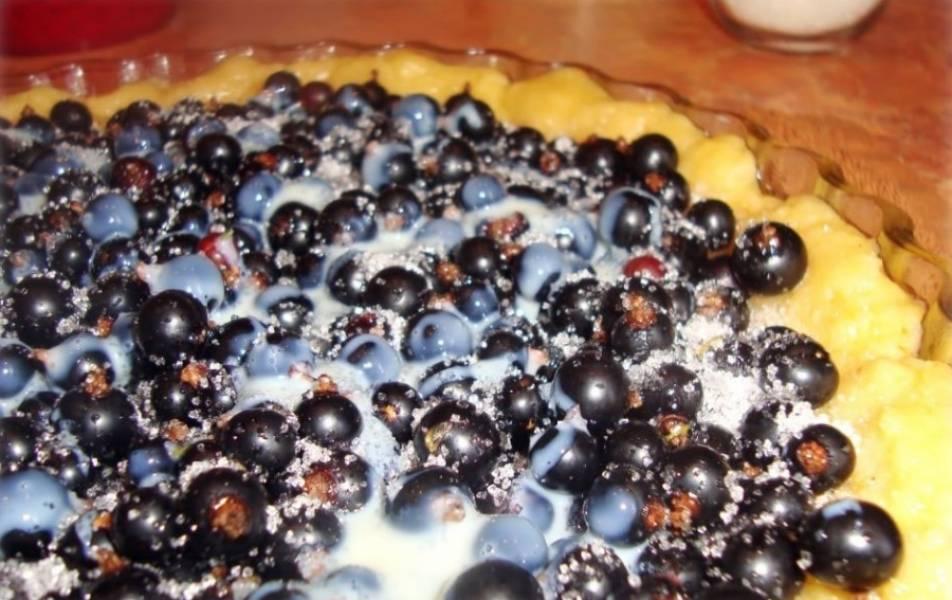 6. Для большей сладости пирог со смородиной на скорую руку в домашних условиях сверху можно полить сгущенкой. Затем отправить форму в разогретую духовку и выпекать около 30 минут до готовности коржа.