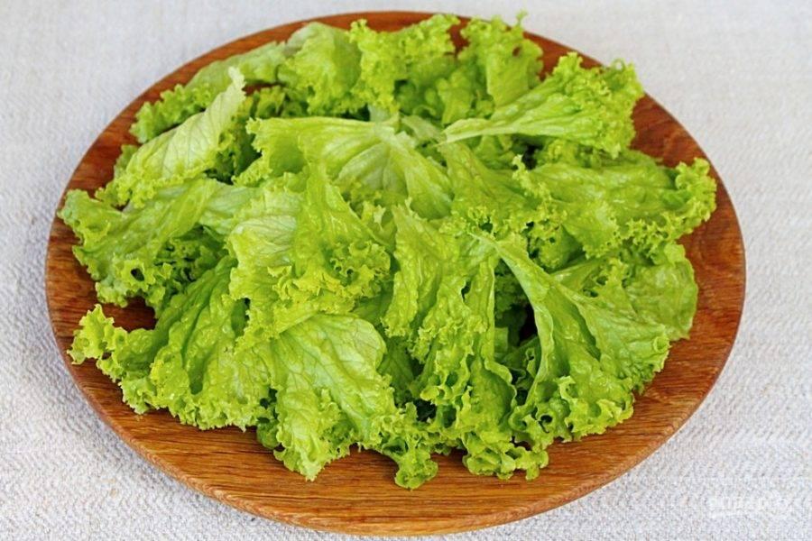 Листья салата промываем, просушиваем на полотенце, разделяем на кусочки и высыпаем на плоскую тарелку.