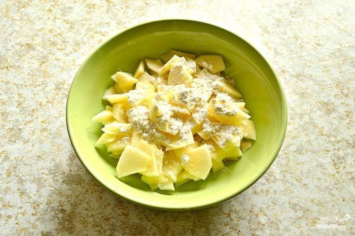 Присыпьте в миске яблоки мукой, корицей и сахаром. Ингредиенты хорошо перемешайте.