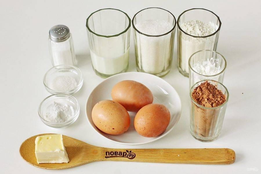 Подготовьте все ингредиенты для приготовления бисквита.